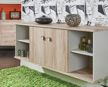 Bardot Oak and Kaschmir Sliding Door TV Unit