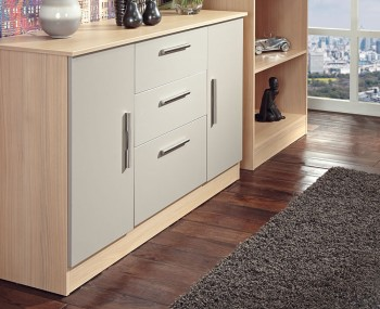 Corazon Mushroom and Elm 2 Door 3 Drawer Sideboards