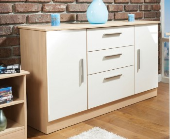 Delaware Cream and Elm 2 Door 3 Drawer Sideboards