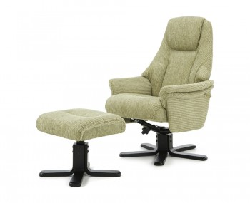 Clarison Mint Fabric Recliner and Stool