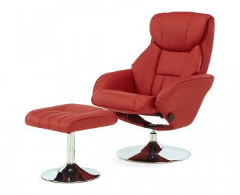 Farris Red Faux Leather Recliner Chair
