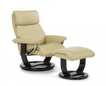 Ivalo Cream Bonded Leather Recliner Chair