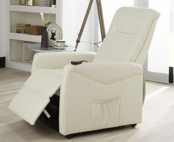Lisbeth Cream Faux Leather Rise and Recliner