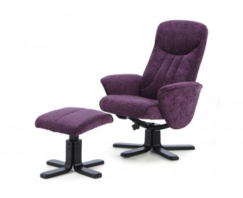 Olsen Amethyst Fabric Massage Recliner Chair and Stool