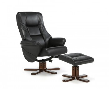 Welton Black Faux Leather Massage Recliner Chair And Stool