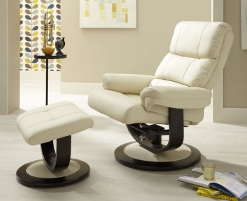 Strava Cream Faux Leather Recliner Chair