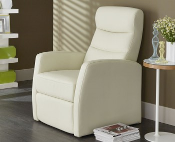 Thomson Cream Faux Leather Manual Recliner Chair