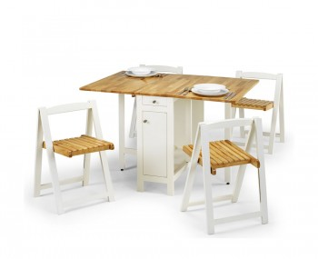 Aldwych White and Natural Wood Gateleg Table Set