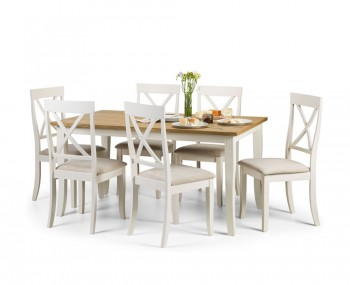 Palmetto White and Oak Dining Table and Chairs