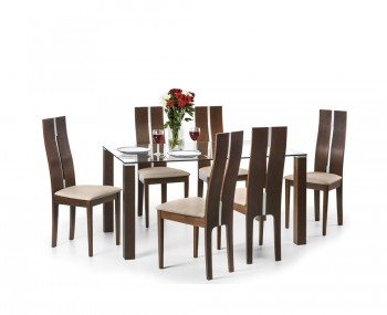 Northaven Walnut and Glass Dining Set