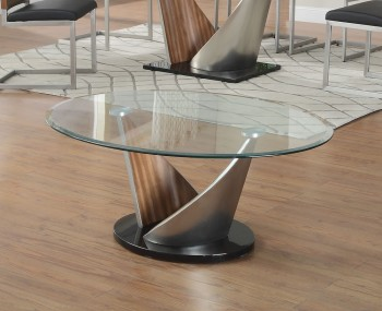Benton Walnut Effect and Glass Coffee Table