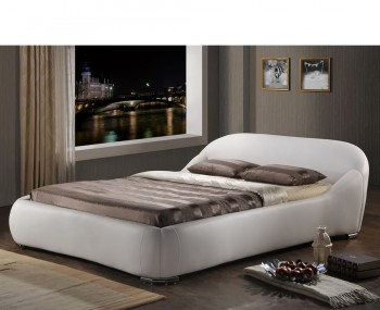 Lennox White Faux Leather Bed Frame