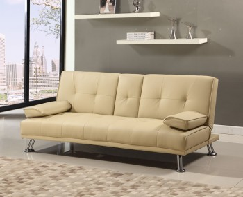 Illinois Cream Faux Leather Sofa Bed