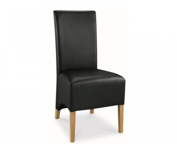 Lyon Oak Black Faux Leather Dining Chairs