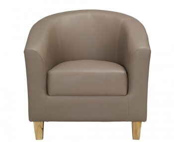 Brennan Taupe Faux Leather Tub Chair