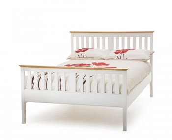 Christine Hevea White and Cherry High Footend Bed Frame
