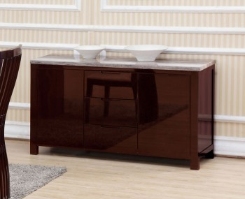 Thurston Marble Effect and Walnut High Gloss Sideboard