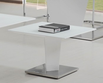 Brodie White High Gloss and Glass Lamp Table