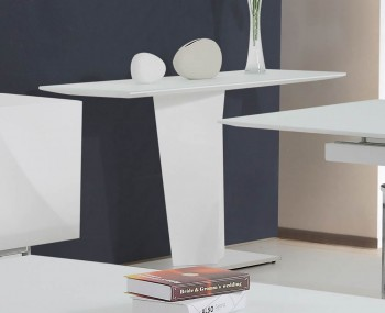 Brodie White High Gloss and Glass Console Table