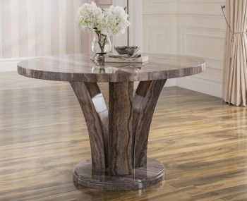 Monterosso Round Pearl Grey Marble Dining Table