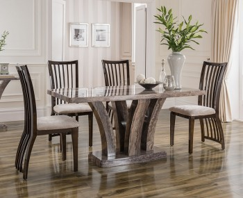 Monterosso Pearl Grey Marble Dining Set