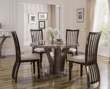 Monterosso Round Pearl Grey Marble Dining Set