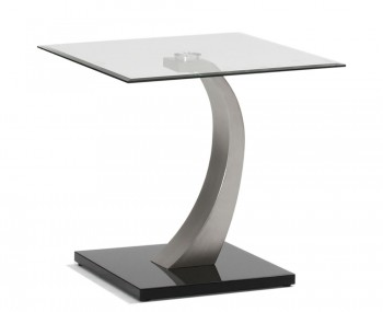 Gresham Tempered Glass and Brushed Steel Lamp Table