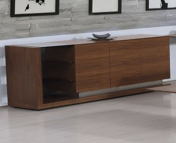 Killister Walnut Veneer and Black Glass Sideboard