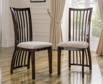 Granton Stone and Walnut High Gloss Dining Chairs