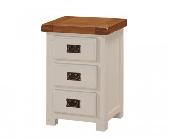 Walden Stone White and Oak 3 Drawer Bedside Chest