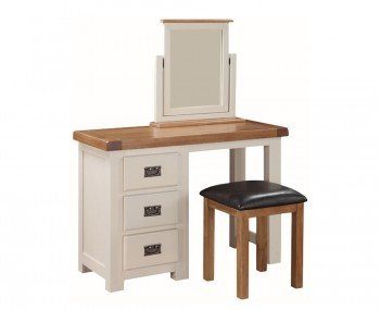 Walden Single Stone White and Oak Dressing Table Set