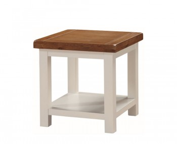 Walden Stone White and Oak Lamp Table