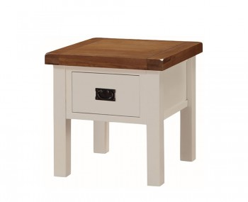 Walden Stone White and Oak Storage Lamp Table