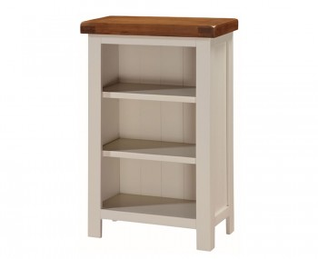 Walden Stone White and Oak Low Narrow Bookcase
