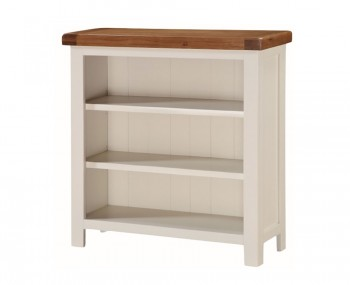 Walden Stone White and Oak Low Wide Bookcase