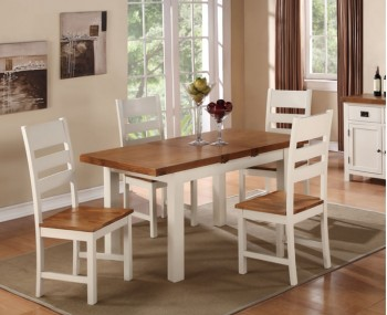 Walden Stone White and Oak Extending Dining Set