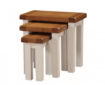 Walden Stone White and Oak Nest of Tables