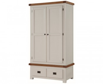 Walden Stone White and Oak 2 Door 2 Drawer Wardrobe