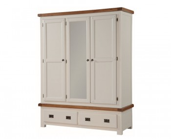 Walden Stone White and Oak 3 Door Wardrobe