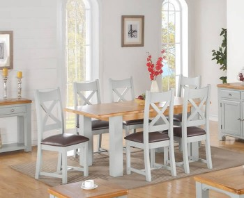 Marlstone Grey and Oak Extending Dining Set