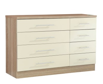 Palmer Cream Gloss and Oak 4+4 Drawer Wide Chest