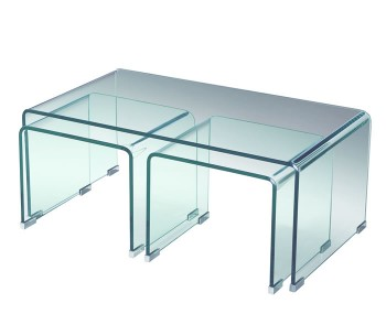 Halmstad Clear Glass Nest of Coffee Tables