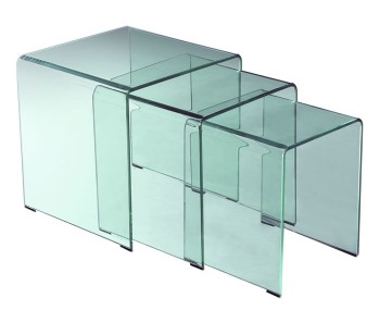 Halmstad Clear Glass Nest of Tables
