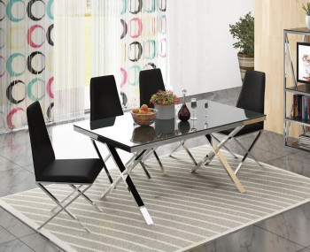 Hamilton Black Glass and Chrome Dining Set