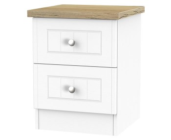 Catalonia Porcelain and Bordeaux Oak 2 Drawer Bedside Chest