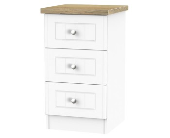 Catalonia Porcelain and Bordeaux Oak 3 Drawer Bedside Chest