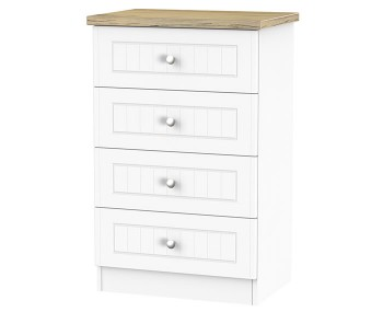 Catalonia Porcelain and Bordeaux Oak 4 Drawer Midi Chest