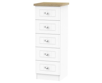 Catalonia Porcelain and Bordeaux Oak 5 Drawer Narrow Chest