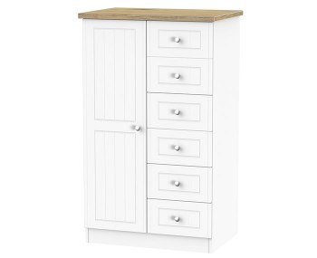 Catalonia Porcelain and Bordeaux Oak Childrens Wardrobe with Drawers