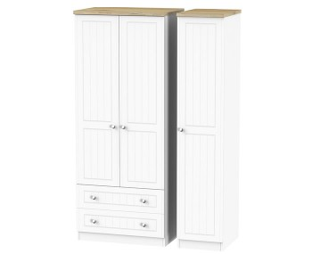 Catalonia Porcelain and Bordeaux Oak 3 Door 2 Drawer Wardrobe